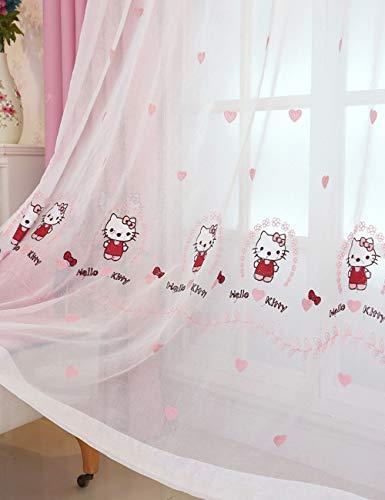Lactraum Vorhang Kinderzimmer Mädchen Transparent Weiß mit Ösen Bestickt Katze Herz Voile 145 x 245cm