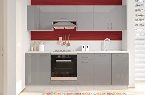 Arreditaly Cucina Componibile Completa con Top Tagliato Bianco, Mobili Pensili Sospesi e Mobili Base Cucinino Moderno in Laminato da 240 Cm da Incasso (Grigio Lucido Laccato)