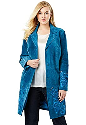 Jessica London Women's Plus Size Embroidered Suede Topper - 16 W, Twilight Teal Floral Embroidery by Jessica London