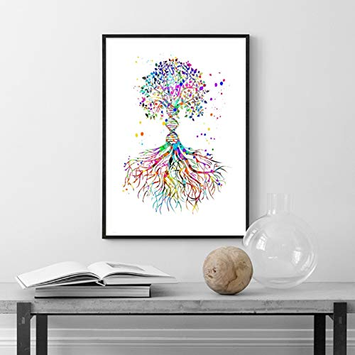 QAZEDC Dekorative Malerei DNA Tree Watercolor Art Print Medical Science Gift Decor Biology Office Double Helix DNA Trunk Poster Canvas Painting Picture 60x80cm