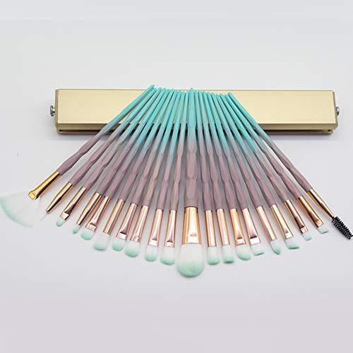 20 Pcs Pinceau Fard À Paupières Professionnel Transparent Maquillage Flash Diamond Outil Pinceau De Maquillage, Injection Vert