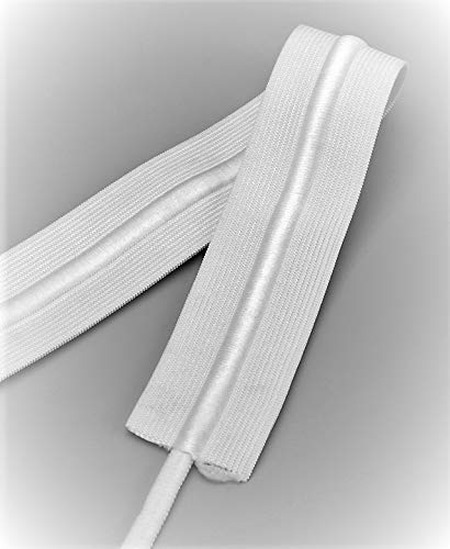 1.5' inch Draw Cord Elastic 10 or 20 Yard Drawstring Elastic White Made in USA (20 Yard)