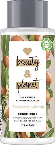 Love Beauty & Planet Après-Shampoing Femme Hydratation Radieuse, Beurre de Karité et Huile de Bois de Santal, Idéal pour cheveux secs, 97% d'ingrédients d'origine naturelle, Vegan (Flacon de 400ml)
