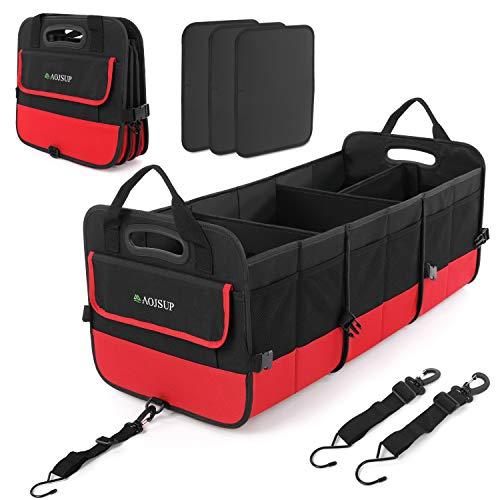 AojSup Premium Kofferraumtasche Kofferraum-Organizer Auto kofferraumtasche, Faltbare Autotasche, Ttragbarem multifunktionellem Lagerplatz, Antirutsch-Klett (Rot)