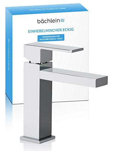 Bächlein Wasserhahn fürs Bad in kantigem Design, Einhebelmischer mit klarer Linienführung in modernem Look, Badarmatur Chrom