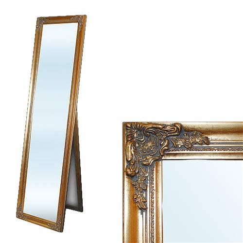 LEBENSwohnART Standspiegel Domingo ca. 170x45cm Antik-Gold Ankleidespiegel Ganzkörperspiegel