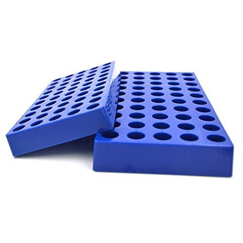 "Tisch Scientific Vial Racks for 2mL Vials   5 Pack   Blue Polypropylene   7.375"" x 3.75"" x .875""   50 Holes   Hole Diameter: 12mm   Hole Depth: 15mm   Autoclavable   CV2055"