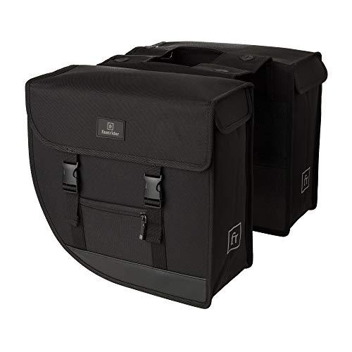 FastRider Hybrid Doppelte Fahrradtasche für Gepäckträger, 26L Seitentasche Fahrrad, Gepäckträgertasche Wasserabweisend, Reflektierend, Einfache Montage, Recyceltes Polyester - Schwarz