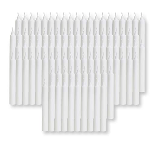 100 pcs Bulk White Candles for Christmas Tree - Angel Chime Decorations - Christmas Pyramids Carousel - 4-inch X 1/2-inch Diameter - 1.5 Hour Burn Time. Unscented