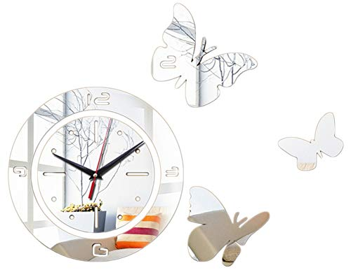Marcus R Caveggf Spiegel Wandaufkleber Acryl 3D Schmetterling Digita, Silver