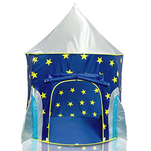 USA Toyz Rocket Ship Play Tent for Kids, Indoor Pop Up Playhouse Tent for Boys and Girls with...