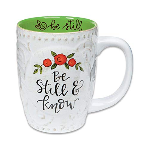 Brownlow Gifts 68095 Simple Inspirations Ceramic Floral Gift Mug, 16-Ounces, Be Still & Know