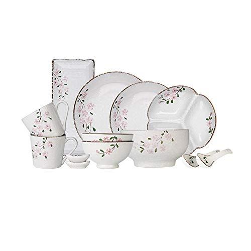 Platos de comida Conjuntos de placa de cena de cerámica Conjunto de vajillas de cocina de 13 piezas, servicio para 2, conjunto de placas de porcelana de calidad de cereza pintada a mano. Platos de cen