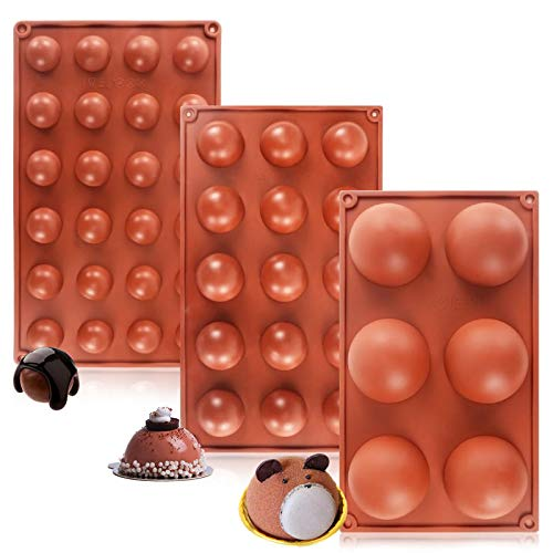 Large Semi Sphere Silicone Mold, (3 Pack)