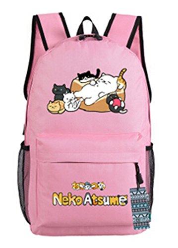 YOYOSHome Anime Atsume Katze Maneki Neko Backyard Cosplay Schultasche Daypack Laptop Rucksack Schule Tasche