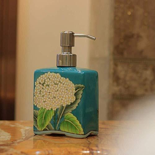 Tangrong Vloeibare zeep Container, Original Refillable Eco Resin keramische zeepdispenser, 100% met de hand schilderen van Blue Dandelion Plein Shampoo Hand Sanitizer fles, 500ml