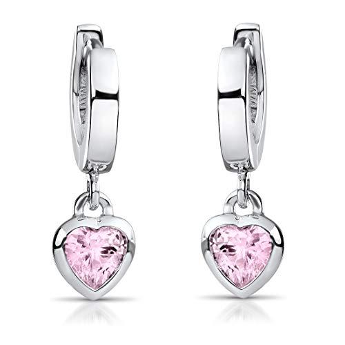 MATERIA Kinder Ohrringe Silber 925 Mädchen - Creolen mit Zirkonia Herz rosa 18x2mm mit Geschenk-Etui SO-389-Rosa
