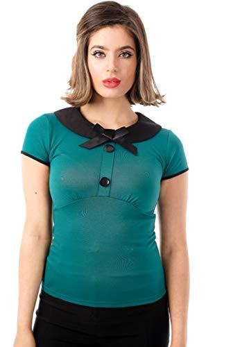 Ro Rox Julie Top Camisa Retro Rockabilly Pin Up 1950 Vintage Pinup - Verde (S)