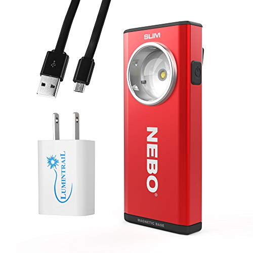 Nebo Slim Rechargeable Pocket Light Flashlight 500 Lumen LED Bundle with Lumintrail USB Wall Adapter (Red)