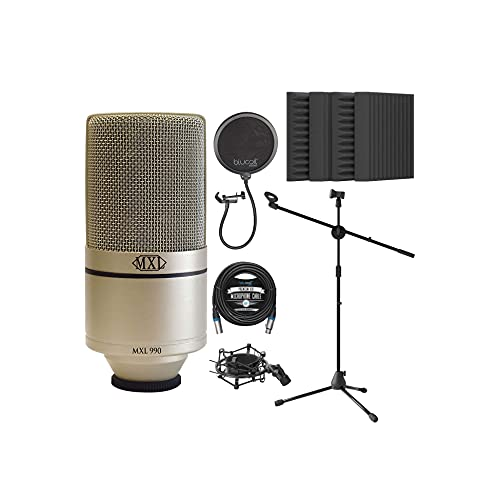 MXL 990 Cardioid Condenser Microphone for Vocals and Guitars (Champagne) Bundle with Blucoil 20-FT Balanced XLR Cable, Pop Filter, Adjustable Microphone Tripod Stand, and 4X 12 Acoustic Wedges