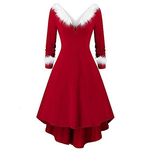 Charma Retro Vestido, Navidad A-Linie vestido con asimétrico pelo sintético Panel Strickkleid Partykleid Cocktailkleid, rojo & blanco multicolor 54