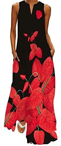 WINKEEY Vestido Maxi para Mujer Estampado Floral Mariposa Bohemio Vestido de Verano con Bolsillos Sin Mangas Moda Talla Grande, Flor roja XXL