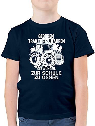 Fahrzeuge Kind - Geboren um Traktor zu Fahren - 152 (12/13 Jahre) - Dunkelblau - t-Shirt Einschulung - F130K - Kinder Tshirts und T-Shirt für Jungen