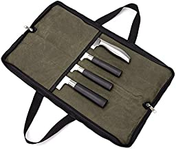 QEES Pro Chef's Knife Roll(4 Slots), Heavy Duty Waterproof Knife Bag with Durable Handles, Portable Knife Roll Case for Men Women for Meat Cleaver, Japanese Knife, Perfect for Working, Camping