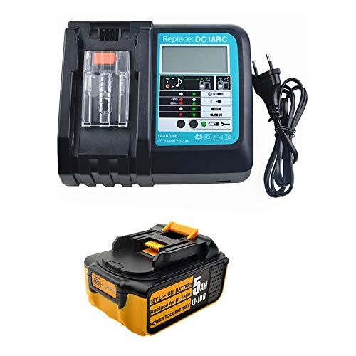 Preisvergleich Produktbild 18V 5.0Ah Ersatz Akku mit Ladegerät 3A für Makita Baustellenradio DMR100 DMR108 DMR107 DMR106 DMR106B DMR102 DMR104 DMR110 DMR101 DMR103B BMR102 BMR100 BMR104 18 Volt Batterie