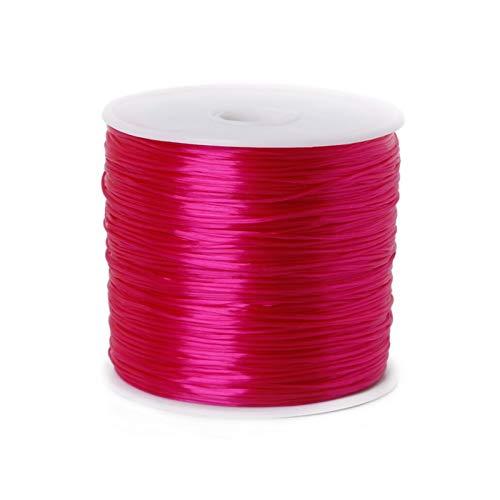 ZIJ 50 m/rollo de cordón elástico para hacer joyas, cuerda elástica de 0,7 mm, pulsera y accesorios de collar (color fucsia, tamaño: 50 metros)