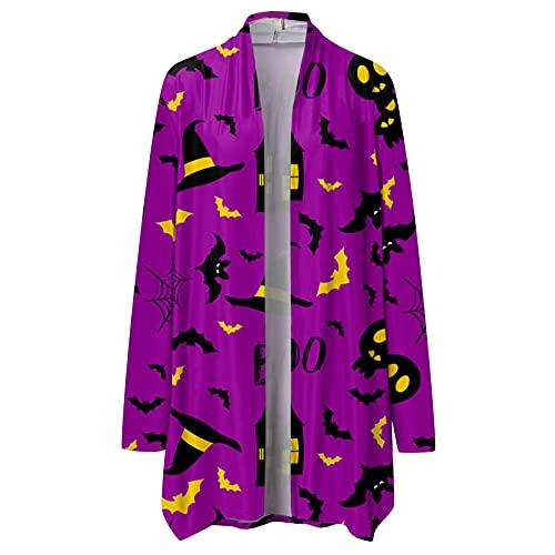 NHNKB Cárdigan - Disfraz de Halloween para mujer, chaqueta larga y fina, bolero para otoño, cárdigans abierto, sudadera con capucha, chaqueta de hombro, camiseta informal, Sty3-h, M