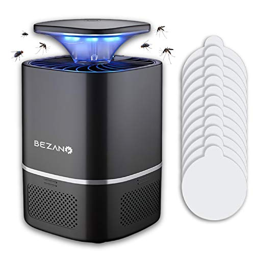 BEZANO Mosquito Killer - Powerful Working for Bugs, Mosquitoes, Gnats and Insects - Insect Blue Light Killer with 12 Sticky Glue Boards for Home