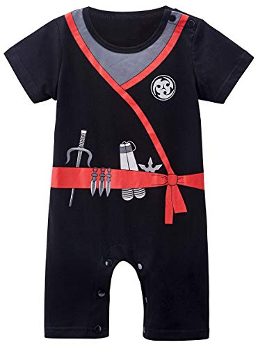 COSLAND Infant Baby Boys' Halloween Novelty Ninja Romper, Black, 12-18 Months