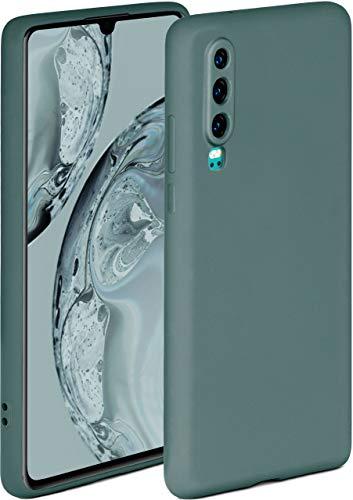 ONEFLOW Soft Hülle kompatibel mit Huawei P30 Hülle aus Silikon, erhöhte Kante für Displayschutz, zweilagig, weiche Handyhülle - matt Petrol