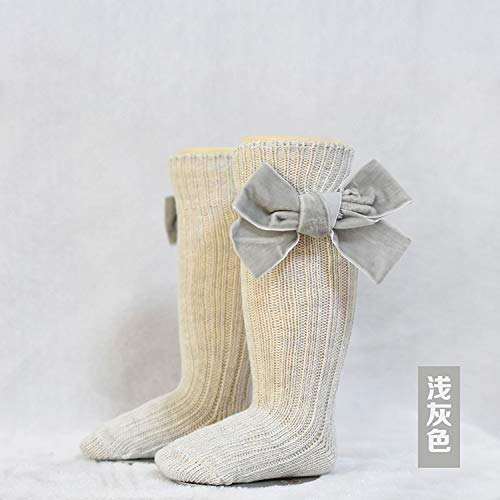 YXHUI 6 Colores La Princesa de los niños Princesa Velvet Bow Socks Kid's Bow en Tube Socks.Cute Baby Baby Snowdler Knee High Lea Highted Sock 0-6Y (Color : Gris Claro, Talla : 2Y 4Y)