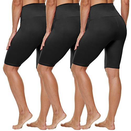 """HLTPRO High Waist Biker Shorts for Women - 8"""" Tummy Control Stretchy Shorts for Running, Workout, Cycling - Reg & Plus Size"""