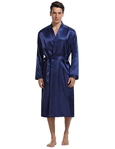 Aibrou Elegante Vestaglia da Uomo, Morbido Lungo Pigiama Kimono da Uomo in Raso, Camicia da Notte con Cintura per Spa Casa Hotel