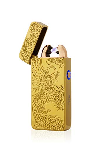 TESLA Lighter T08 Lichtbogen Feuerzeug, Plasma Double-Arc, elektronisch wiederaufladbar, aufladbar mit Strom per USB, ohne Gas und Benzin, mit Ladekabel, in edler Geschenkverpackung, Drache 3D Gold