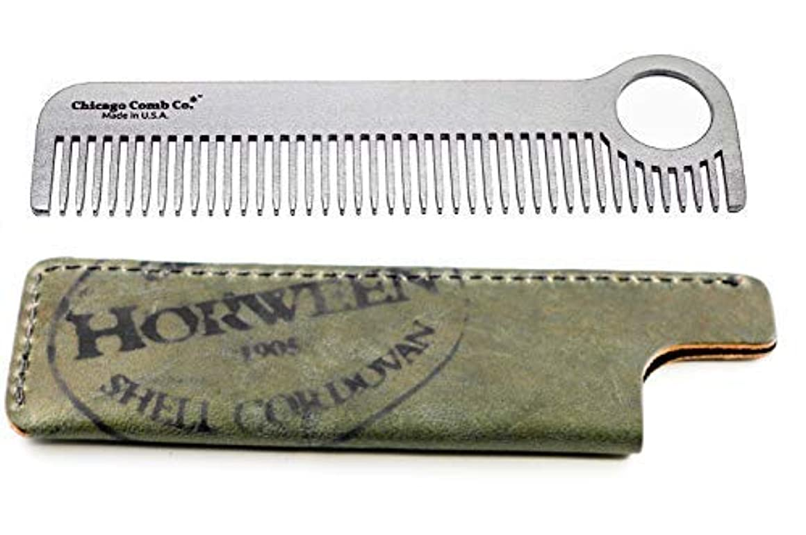 予測心理的に包囲Chicago Comb Model 1 Stainless Steel + Horween Olive Shell Cordovan Sheath, Made in USA, Ultra-Smooth, Durable, Anti-Static, 5.5 in. (14 cm) Long, Medium Tines, Ultimate Daily Use Comb, Gift Set [並行輸入品]