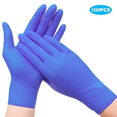 Beautyshow 100PCS Einweghandschuhe Wegwerf Handschuhe Nitrilkautschuk Ungiftige Latexfreie Handschuhe für die Rechte und Linke Hand, für Haushaltsreinigung, Arbeit, Lebensmittelzubereitung - S-Größe