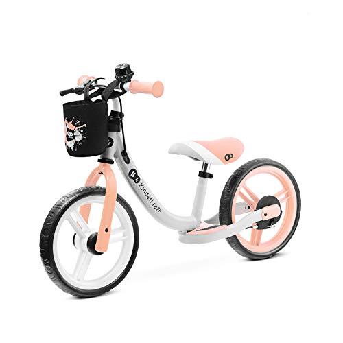 Kinderkraft Laufrad SPACE, Lernlaufrad, Kinderlaufrad, Baby Kinderrad mit Zubehör, Klingel, Tasche für Kleinigkeiten, Handbremse, Fußstütze, begrenzte Lenkeinschlag, 12 Zoll Räder, ab 2 Jahre, Rosa