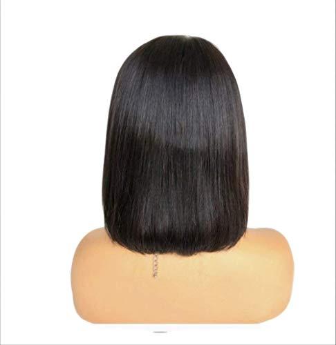 WFQ Perruque courte en cheveux humains avec frange 25,4 x 40,6 cm Couleur naturelle pour femme 25,4 cm