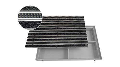 EMCO Eingangsmatte DIPLOMAT Rips anthrazit + Bürsten grau 22mm + ACO Bodenwanne Vario Light Fußmatte Türmatte Abstreifer
