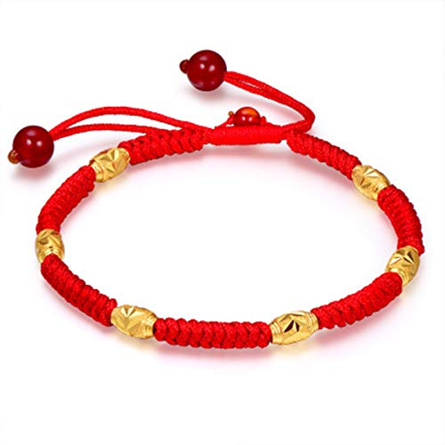 Eternal Classical Lucky Rope Bracelet,Chinese Style Bright Red Gold Bead Adjustable Bracelet,Hand Braided Knots Protection Faith Women (Style 3 (6 Beads))