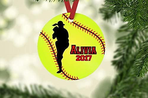 Softball ornament, softball pitcher ornament, softball Christmas ornament, personalized ornament, softball team gift, softball player gift