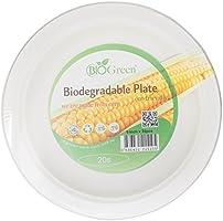 "Biogreen Disposable 9"" Plate, Milky White, 20 Count, BD-9BP20"
