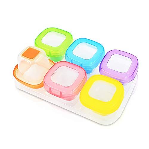 SONARIN Mejorar recipientes para comida de bebé,sin BPA, fondo suave TPE,100% a prueba de fugas, refrigeración/congelado, microondas utilizable(6 x 60 ml)