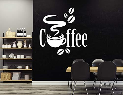 tjapalo® w-pkm390 Wandtattoo Küche Kaffee Bohnen Kaffeebohnen Esszimmer Wandsticker Büroküche Wandaufkleber, Farbe: Schwarz, Größe: B38xH38cm