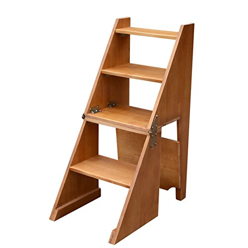 PENGFEI Faltbare Stufenleiter Trittleiter Klappleiter Hocker Treppen Massivholz Rückenlehne Stuhl Multifunktion Haushaltsprodukte Blumenstand Schuhregal 4 Schritte 2 Farben 40x64x92cm
