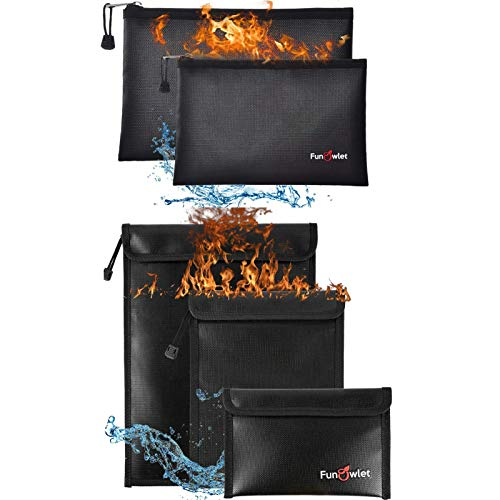 Fireproof Waterproof Money Document Bag - 2+3 Pack Safe Upgraded Zipper Bags, Fire & Water Resistant Storage Organizer Pouch for A4 A5 Documents Holder,File,Cash,Jewelry,Passport,Tablet,Laptop (Black)